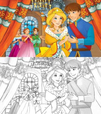 Cartoon happy royal couple in the castle