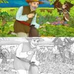 Cartoon illustration of a man gathering herbs in t...