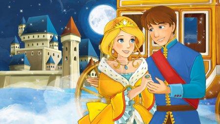 Cartoon scene with prince and princess