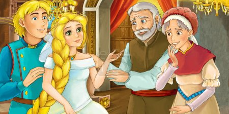 Cartoon scene of a prince and princess in the castle - parents blessing - with coloring page