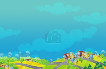 Cartoon scene of a small town - with space for text