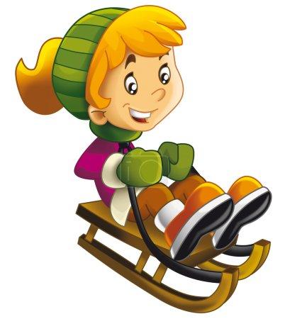 Cartoon child sliding down on the sleigh