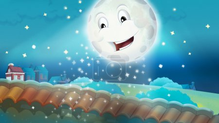 shining moon on sky Cartoon happy scene