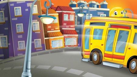 Photo pour Scène de dessin animé de la ville de jour avec un bus souriant illustration pour les enfants. Illustration traditionnelle joyeuse et colorée - image libre de droit