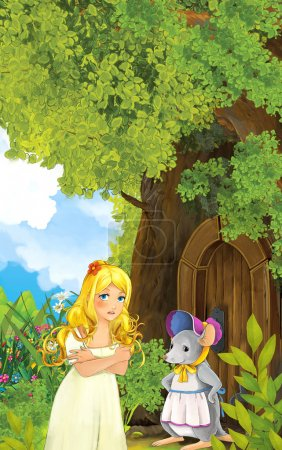 Photo pour Scène de conte de fées avec une jeune fille vivant dans une cabane dans les arbres et une souris. Illustration traditionnelle joyeuse et colorée pour enfants - image libre de droit