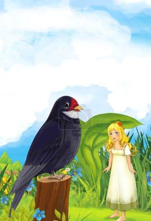 Photo pour Dessin animé scène de conte de fées avec une jeune fille sous la feuille sur la prairie. Illustration traditionnelle joyeuse et colorée pour enfants - image libre de droit