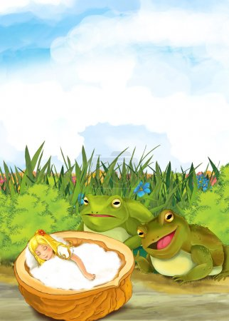 girl sleeping near the meadow - frogs taking care of her