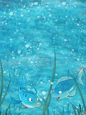 Photo for Cartoon scene with two fishes underwater - illustration for children. Happy and colorful traditional illustration - Royalty Free Image