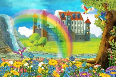 Cartoon scene on a castle