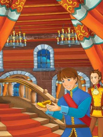 Foto de Escena de dibujos animados con príncipe encontrar la bota de oro en las escaleras - ilustración para los niños. Alegre y colorida ilustración tradicional - Imagen libre de derechos