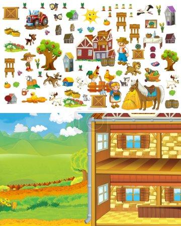 Cartoon Farm Scene - Raum für Text