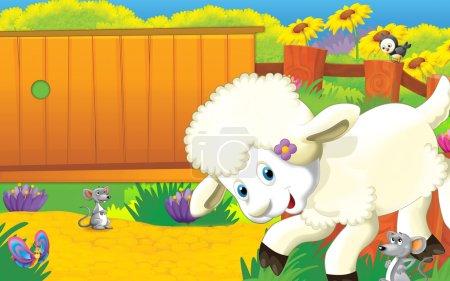 Photo pour Joyeux mouton jouant avec la souris, illustration pour enfants - image libre de droit