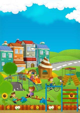 Cartoon scene of kids playing