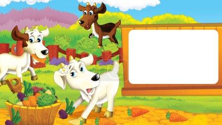 Photo pour Scène de dessin animé - un paysan et un chat dans la prairie s'amusent - illustration pour enfants - image libre de droit