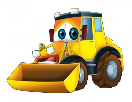 Colorful cartoon excavator