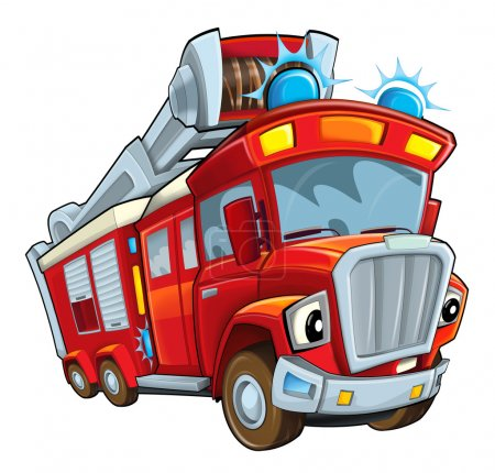 Photo for Red Cartoon firetruck - illustration for children - Royalty Free Image