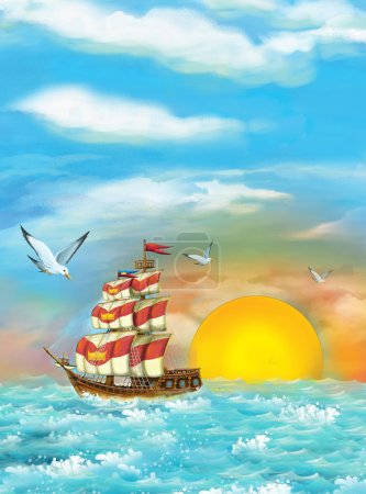 Photo for Cartoon fantasy scene of sailing ship, illustration for children - Royalty Free Image