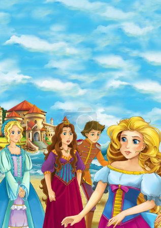 Cartoon scene of beautiful princess with friends on the beach - illustration for children