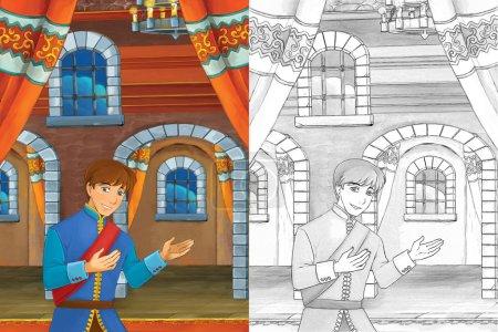 Foto de Escena de dibujos animados con príncipe encontrar la bota de oro en las escaleras - apuesto hombre manga - Imagen libre de derechos