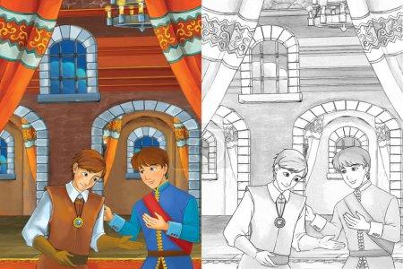 Foto de Príncipe en la cámara de Castillo - dos hombres hablando - Príncipe o rey y el siervo - buena buscando hombres manga - página para colorear - Imagen libre de derechos
