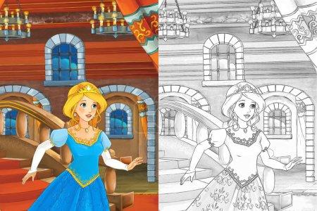 Foto de Escena de dibujos animados con la hermosa princesa saliendo del castillo - chica manga bonito - Imagen libre de derechos