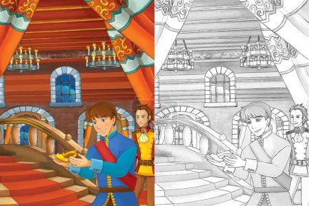 Foto de Príncipe en la cámara de Castillo - dos hombres hablando - Príncipe o rey y el siervo - buena buscando hombres manga - Imagen libre de derechos