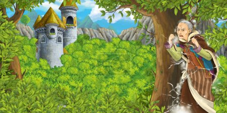 fairy tale scene with castle tower and a witch - princess in the forest - older manga woman - castle tower in the background - illustration for children