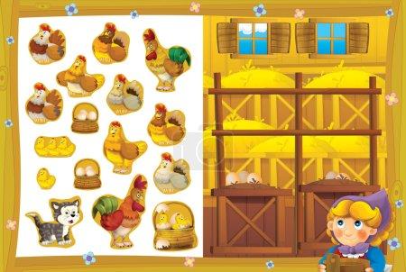 die Gastgeberin im glücklichen Hühnerstall für Eier lächelnd - Übungsseite - Aufkleber isoliert - leuchtende Illustration für Kinder - pädagogische