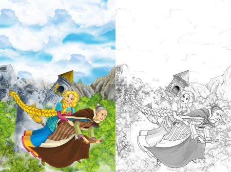 Photo pour Scène d'une sorcière volant sur un balai avec jeune fille - au fond s'effondrer la tour médiévale - manga belle fille - Coloriage - illustration pour les enfants de dessin animé - image libre de droit