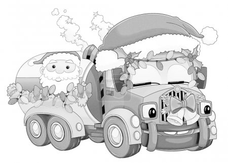 Coloring page - christmas car