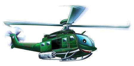 Photo pour Dessin animé hélicoptère militaire - illustration pour les enfants - image libre de droit
