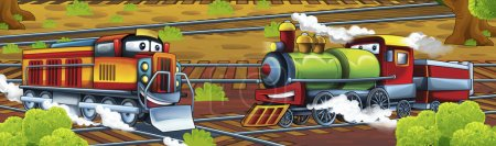 Photo pour Trains de bande dessinée - illustration heureuse et colorée pour les enfants - image libre de droit