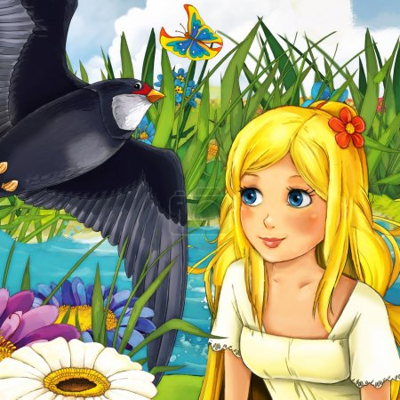 Photo for Cartoon fairy tale scene - illustration for the children - Royalty Free Image