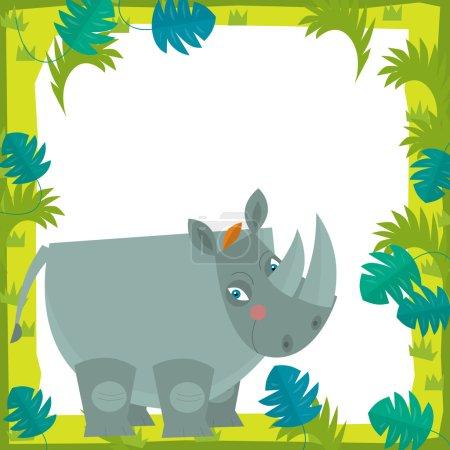 Photo pour Scène de cadre de bande dessinée - rhino - illustration pour les enfants - image libre de droit