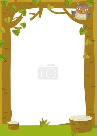 Photo pour Scène de cadre de dessin animé - forêt - illustration pour les enfants - image libre de droit