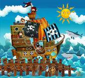 Постер Пиратский корабль в море