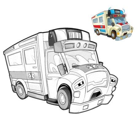 Cartoon ambulance - caricature
