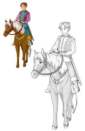 Fairytale cartoon character - prince on the horse
