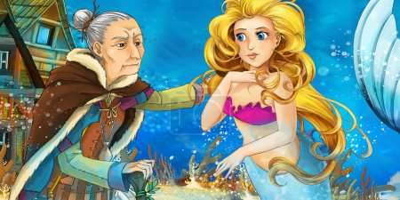 Cartoon ocean and the mermaid talking to an old woman