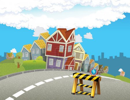 Cartoon background of a town