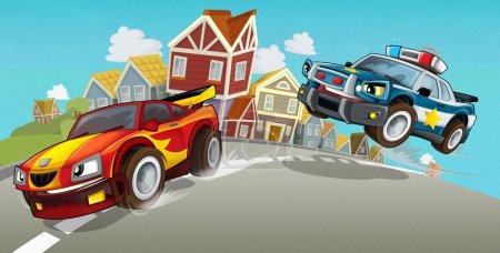 Cartoon car chase