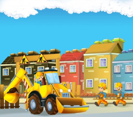 Cartoon scene with construction workers