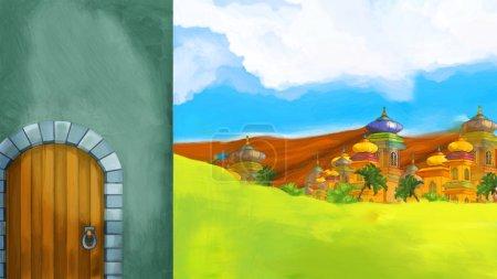 Photo pour Fond de bande dessinée pour contes de fées illustration pour les enfants - image libre de droit
