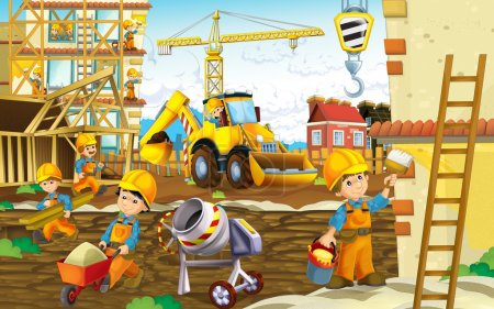 Cartoon construction site - with working men