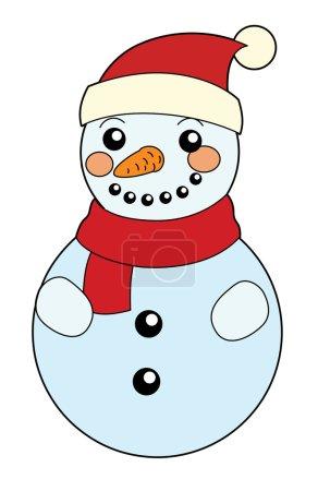 Cartoon snowman - isolated