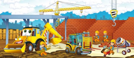 Cartoon forklift and excavator - vehicles and workers