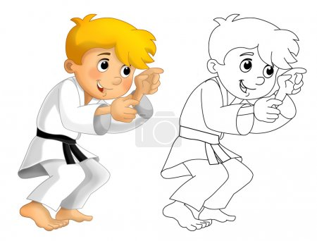 Cartoon children training - coloring page