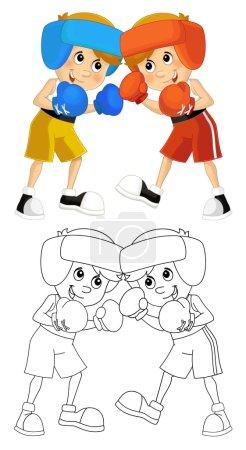 Cartoon child training - boxing - isolated