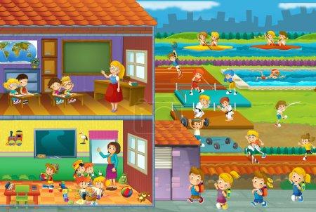 The cut through illustration - school - kids and sport - gymnastics