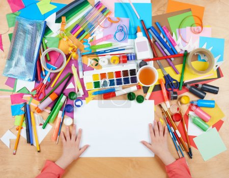 Photo for Child drawing top view. Artwork workplace with creative accessories. Flat lay art tools for painting. - Royalty Free Image